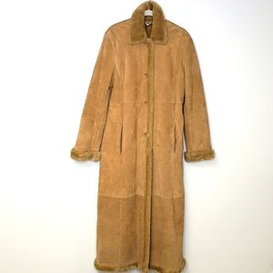 Marvin Richards Tan Suede Maxi Coat with Faux Fur Lining.